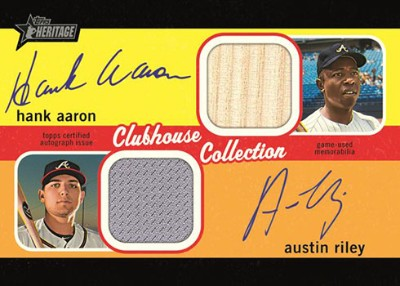 Clubhouse Collection Dual Auto Relics Hank Aaron, Austin Riley MOCK UP