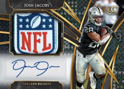 Jumbo Rookie Signature Swatches NFL Shield Tag Josh Jacobs MOCK UP