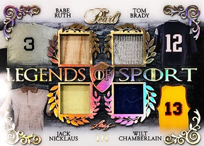 Legends of Sport 4 Relics Babe Ruth, Tom Brady, Jack Nicklaus, Wilt Chamberlain