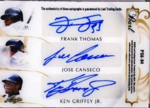Pearl Signatures 6 Back Frank Thomas, Jose Canseco, Ken Griffey Jr
