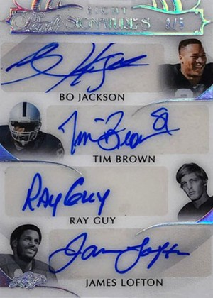 Pearl Signatures 8 Front Bo Jackson, Tim Brown, Ray Guy, James Lofton