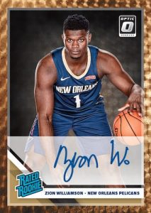 Rated Rookie Signatures Gold Vinyl Zion Williamson MOCK UP