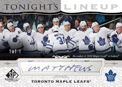 Tonight's Line Up Auston Matthews MOCK UP