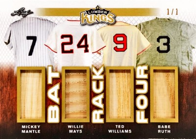 Bat Rack 4 Relics Mickey Mantle, Willie Mays, Ted Williams, Babe Ruth
