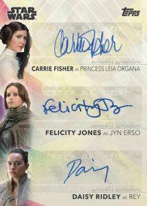 Triple Auto Carrie Fisher, Felicity Jones, Daisy Ridley MOCK UP
