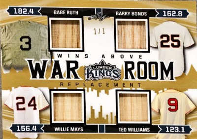 W.A.R. Room Relics Babe Ruth, Barry Bonds, Willie Mays, Ted Williams
