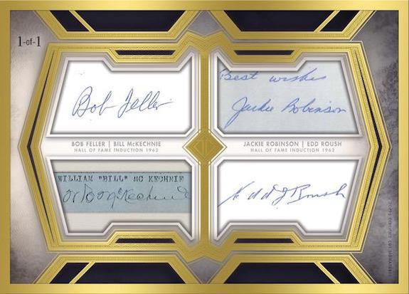 HOF Induction Class Cut Signatures Bob Feller, Bill McKechnie, Jackie Robinson, Edd Roush MOCK UP