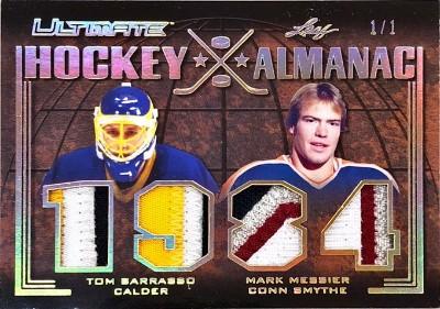 Ultimate Hockey Almanac Relics Tom Barrasso, Mark Messier