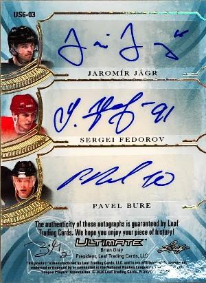 Ultimate Signatures 6 Back Jaromir Jagr, Sergei Fedorov, Pavel Bure