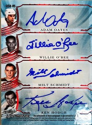 Ultimate Signatures 8 Back Adam Oates, Willie O'Ree, Milt Schmidt, Ken Hodge