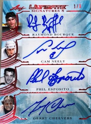 Ultimate Signatures 8 Front Raymond Bourque, Cam Neely, Phil Esposito, Gerry Cheevers