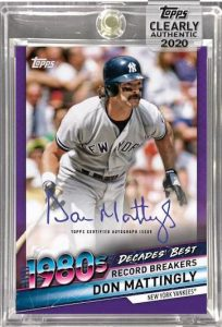 Decades Best Auto Purple Don Mattingly MOCK UP