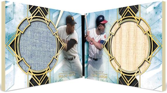 Dual Player Dual Relic Book Willie Mays, Hank Aaron MOCK UP