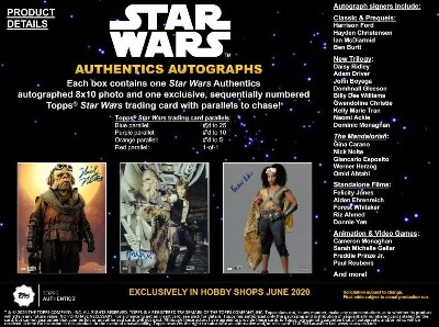 2020 Topps Star Wars Authentics Autographs 8x10