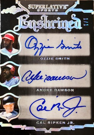 Enshrined Auto Front Ozzie Smith, Andre Dawson, Cal Ripken Jr.