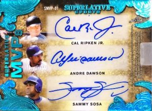 Superlative MVPs Auto Back Cal Ripken Jr, Andre Dawson, Sammy Sosa