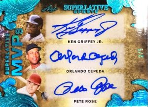 Superlative MVPs Auto Front Ken Griffey Jr, Orlando Cepede, Pete Rose