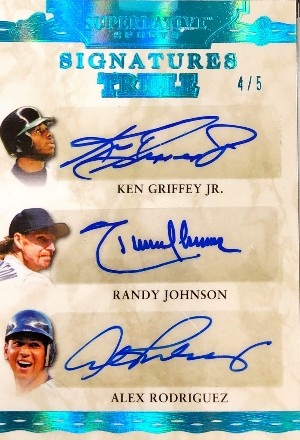 Superlative Signatures 3 Ken Griffey Jr, Randy Johnson, Alex Rodriguez