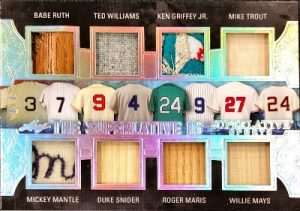 The Superlative 16 Relics Front Babe Ruth, Mickey Mantle, Ted Williams, Duke Snider, Ken Griffey Jr., Roger Maris, Mike Trout, Willie Mays