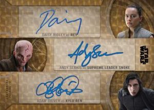 Triple Auto SuperFractor Daisy Ridley as Rey, Adam Driver as Kylo Ren, & Andy Serk as Supreme Leader Snokes