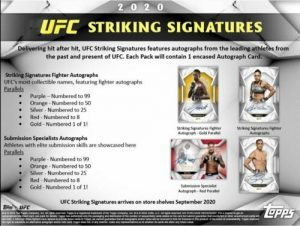 2020 Topps UFC Striking Signatures