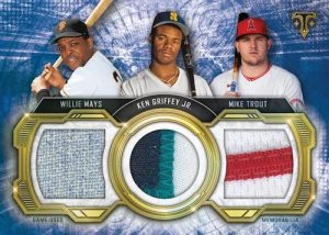 Historic Ties Triple Relics Willie Mays, Ken Griffey Jr, Mike Trout MOCK UP
