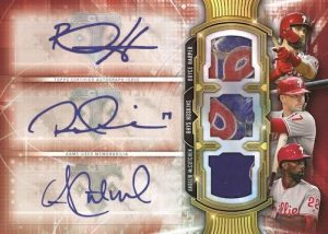 Touch 'Em All Three Player Auto Relic Andrew McCutchen, Bryce Harper, Rhys Hoskins MOCK UP