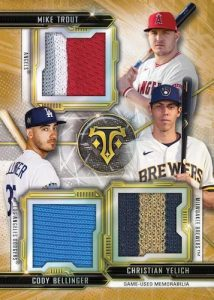 Triple Threads Combo Relic Gold Mike Trout, Christian Yelich, Cody Bellinger MOCK UP