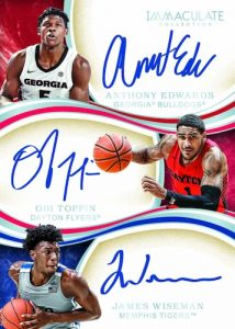 Immaculate Trios Auto Anthony Edwards, James Wiseman, Obi Toppin MOCK UP