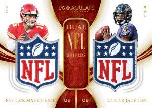 Immaculate Dual NFL Shield Patrick Mahomes II, Lamar Jackson MOCK UP