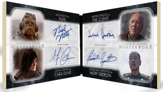 Quad Auto Book Nick Nolte as Kuill, Gina Carano as Cara Dune, Werner Herzog as The Client, Giancarlo Esposito as Moff Gideon MOCK UP