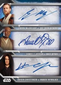 Triple Auto Ewan McGregor as Obi-Wan Kenobi, Samuel L Jackson as Mace Windu, Hayden Christensen as Anakin Skywalker MOCK UP