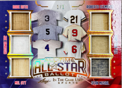 All-Time All-Star Ballot Gold Babe Ruth, Joe DiMaggio, Mel Ott, Roberto Clemente, Ted Williams, Stan Musial