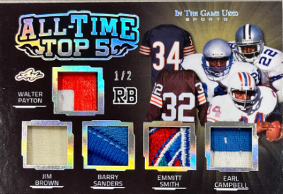 All-Time Top 5 Relics Silver Walter Payton, Jim Brown, Barry Sanders, Emmitt Smith, Earl Campbell