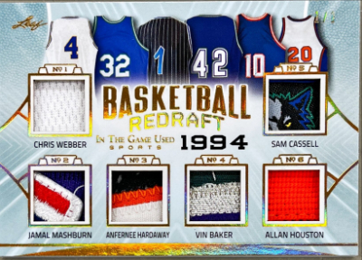 Basketball Redraft Relics Gold Chris Weber, Jamal Mashburn, Anfernee Hardaway, Vin Baker, Allan Houston, Sam Cassell