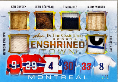 Enshrined Town Relics Gold Maurice Richard, Ken Dryden, Jean Beliveau, Tim Raines, Larry Walker, Gary Carter