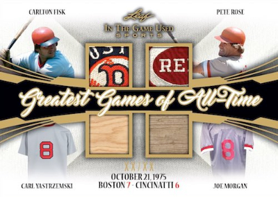 Greatest Games of All Time Relics Carlton Fisk, Pete Rose, Carl Yastremski, Joe Morgan MOCK UP