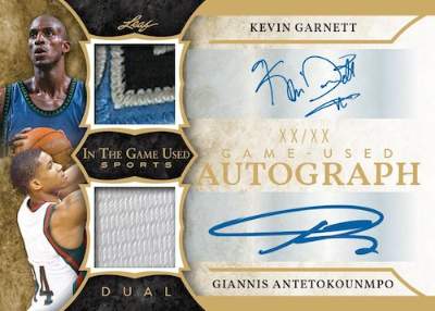 In the Game Used Dual Relics Kevin Garnett, Giannis Antetokounmo MOCK UP