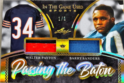 Passing the Baton Relics Gold Walter Payton, Barry Sanders