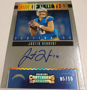 Rookie of the Year Contenders Auto RPS Gold Justin Herbert