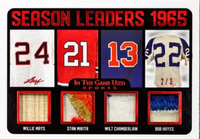 Season Leaders Relics Willie Mays, Stan Musial, Wilt Chamberlain, Bob Hayes