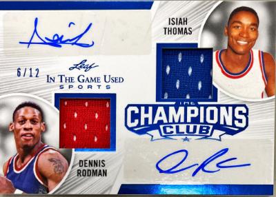 The Champions Dual Auto Blue Isiah Thomas, Dennis Rodman