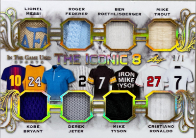 The Iconic 8 Relics Gold Lionel Messi, Roger Federer, Ben Roethlisberger, Mike Trout, Kobe Bryant, Derek Jeter, Mike Tyson, Cristiano Ronaldo