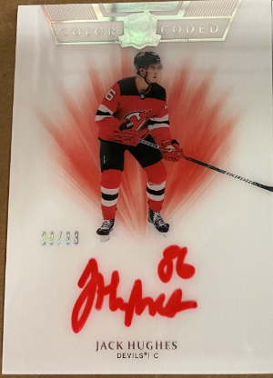 Color Coded Rookie Auto Jack Hughes