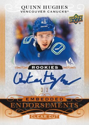 Embedded Endorsements Rookie Auto Quinn Hughes MOCK UP