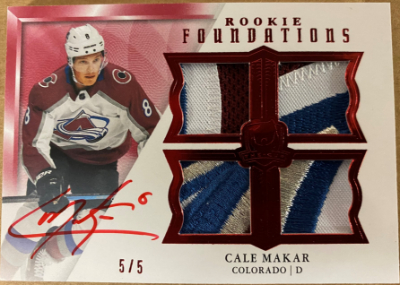 Foundations Quad Jersey Auto Rookies Cale Makar