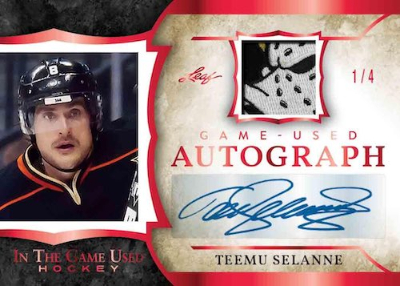 In the Game Used Auto Red Teemu Selanne MOCK UP
