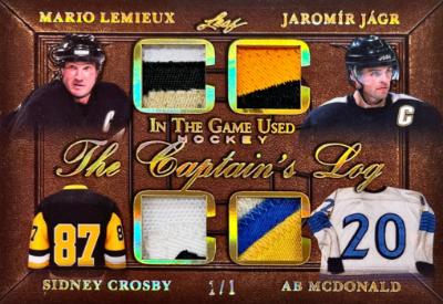 The Captain's Log Relics Gold Mario Lemieux, Jaromir Jagr, Sidney Crosby, Ab McDonald