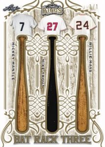 Bat Rack 3 Relics Mickey Mantle, Mike Trout, Willie Mays MOCK UP