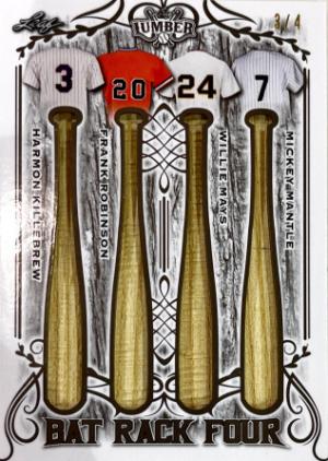Bat Rack 4 Relics Pewter Harmon Killebrew, Frank Robinson, Willie Mays, Mickey Mantle